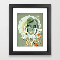 floral spring girl Framed Art Print