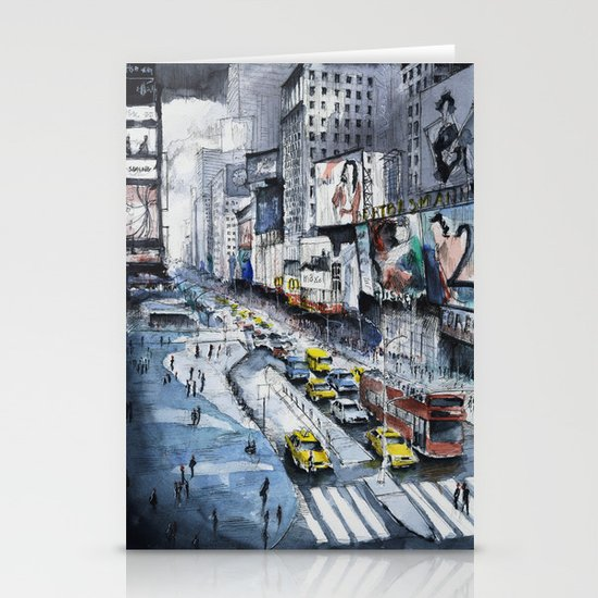 Time square - New York City - Illustration watercolor painting Stationery Card