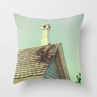 Summer cottage gable roof Throw Pillow
