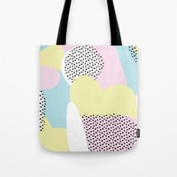 Candy Pink Blue Blobs & Dots Pattern Tote Bag
