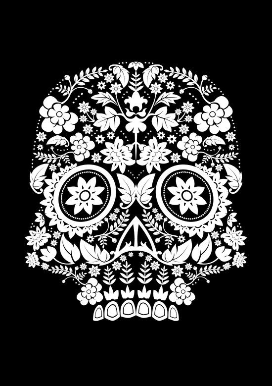 Original Day Of The Dead Skull Canvas Print
