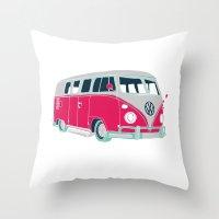 Vintage camper van  Throw Pillow