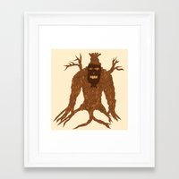 Framed Art Print featuring Tree Stitch Monster by Dambar Thapa