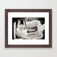 baby in wagon Framed Art Print