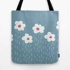Rainy Flowery Clouds Tote Bag