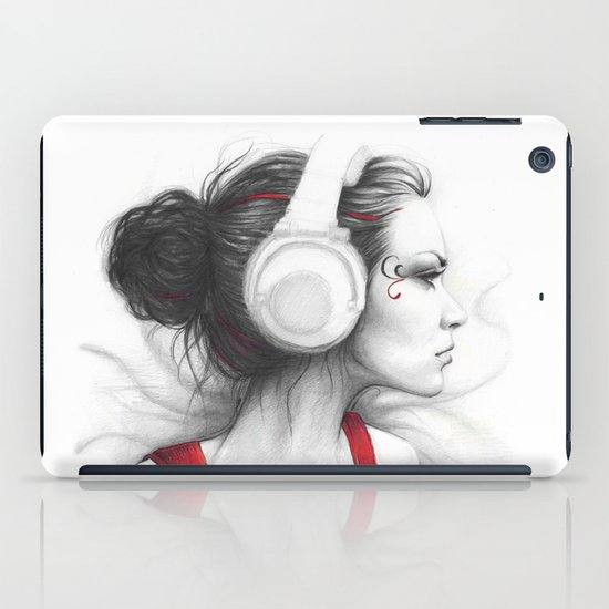 MUSIC - pencil portrait girl in headphones iPad Case