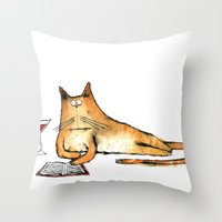 The Cat Relaxes Throw Pillow