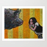 Shh, piggy! Art Print