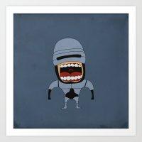 Art Print featuring Screaming Robocop by That Design Bastard