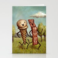 Bacon Loves Ice Cream Stationery Cards