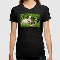 The Booklizard Womens Fitted Tee Tri-Black SMALL