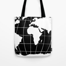 Map of the World in Black Tote Bag