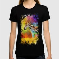 Jazzy Zebra Colorful Animal Art by Jai Johnson Womens Fitted Tee Black SMALL
