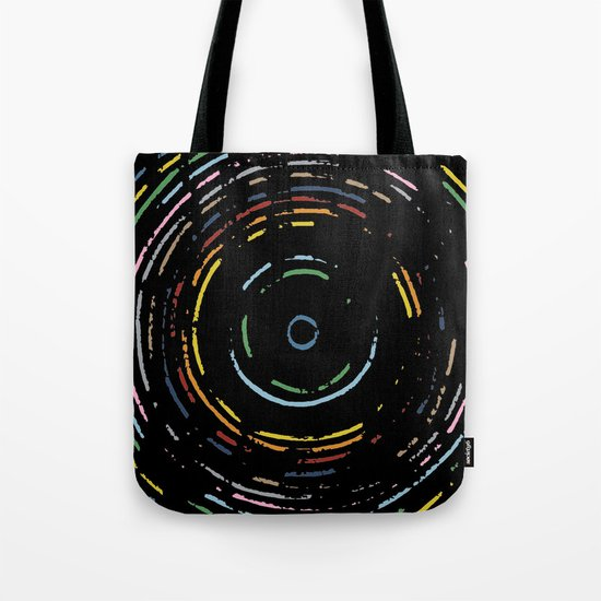Rainbow Record on Black Closeup Tote Bag