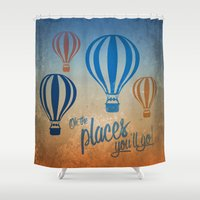 Oh, the Places You'll Go - Blue & Gold Shower Curtain