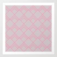 Diamond Art Deco; - Pink Art Print