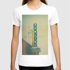 Bowling  Womens Fitted Tee White SMALL
