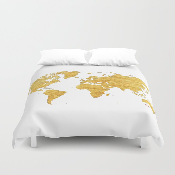 World Map Gold Vintage Duvet Cover By City Art Posters