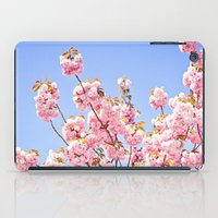 Pink Cherry Blossoms Against Blue Sky iPad Case