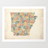 Arkansas by County Art Print