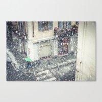 Green umbrella in snow Canvas Print