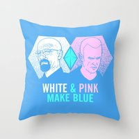 WHITE & PINK MAKE BLUE Throw Pillow