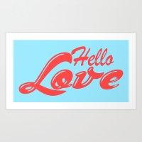 Hello, love   Typography Art Print