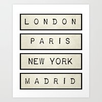 London | Paris | New York | Madrid Art Print