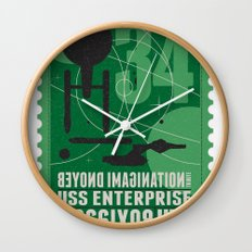 Beyond imagination: USS Enterprise postage stamp  Wall Clock