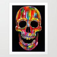 skull Art Prints featuring Chromatic Skull by John Filipe