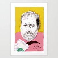 """Art Print featuring  """"Žižek just spilled Starbucks coffee all over himself""""  by Mexican Zebra"""
