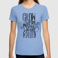 Grow Where You Are Plant… Womens Fitted Tee Athletic Blue SMALL