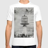 Spaceship Jail Mens Fitted Tee White SMALL