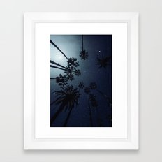 Palm Trees, Night Sky, Stars, Moon Framed Art Print