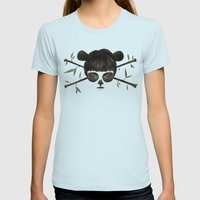 Pirate Panda Womens Fitted Tee Light Blue SMALL