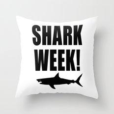 Shark week (on white) Throw Pillow