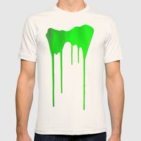 Green Splatter Mens Fitted Tee Natural SMALL