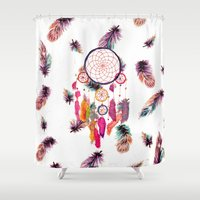 Hipster Watercolor Dreamcatcher Feathers Pattern  Shower Curtain
