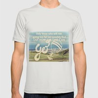 Adventure Quote, hot air balloon Mens Fitted Tee Silver SMALL