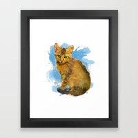 Watercolor and splatter Cat Framed Art Print