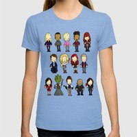Doctors Companions And F… Womens Fitted Tee Tri-Blue SMALL