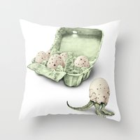In Which Dinosaur Eggs A… Throw Pillow