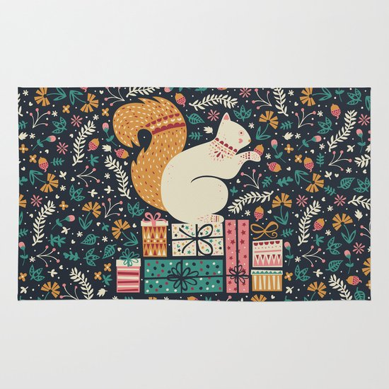 Merry Little Squirrel  Area & Throw Rug