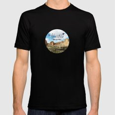 adventure beckons- Smith Rock Oregon Black SMALL Mens Fitted Tee