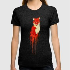 The fox, the forest spirit Womens Fitted Tee Tri-Black SMALL