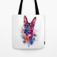 Drippy Jazzy German Shepherd Colorful Dog Art by Jai Johnson Tote Bag