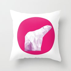 Magenta Polar Bear Throw Pillow