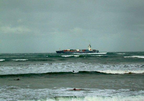 Leistering  Cargo Ship & Surfers Art Print
