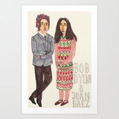 Bob Dylan & Joan Baez Art Print