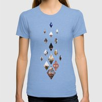 Diamante Womens Fitted Tee Tri-Blue SMALL
